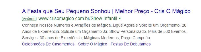 Anúncio do Cris o Mágico no Google