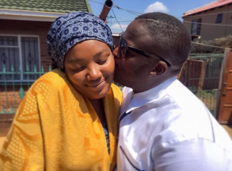 Publicist Lerato Sengado with her late husband HHP.