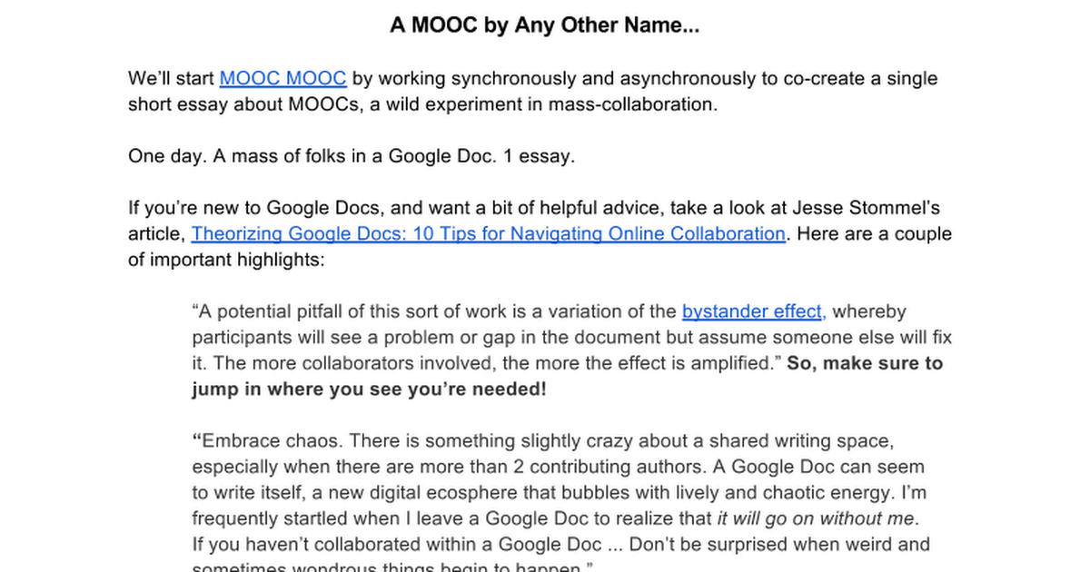 A MOOC By Any Other Name Google Docs - Start a new google doc