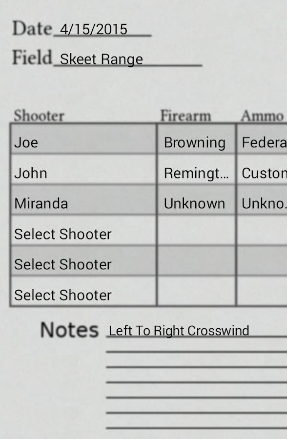 Shotgun Scorecard- screenshot