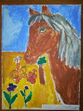 """Photo: Натали Сердюк, 8 лет, Седая лошадь. Студ. """"Вдохновение"""" Натальи Ланге. Израиль. г. Беэр-Шева"""