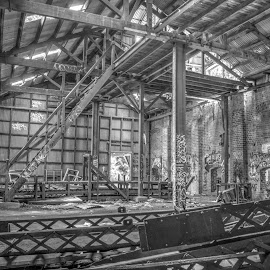 Conveyor by Ella Kingston - Black & White Buildings & Architecture ( decaying, abandoned building, workshop, black and white, abandoned, warehouse,  )