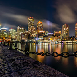 Boston Seaport Skyline by Carl Albro - City,  Street & Park  Night ( seascape, harbor, skyline, clouds, long exposure, skyscrapers )