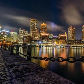 Boston Seaport Skyline by Carl Albro - City,  Street & Park  Night ( seascape, harbor, skyline, clouds, long exposure, skyscrapers )
