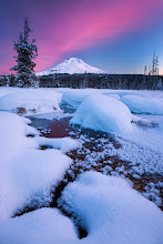 Photo: This shot of Mt Hood was taken Sunday morning on a quick sunrise shoot with +Michael Bollino. The morning didn't look like it was going to provide us with much, as the sky looked completely clear, but as the sun came up it hit a patch of really wispy clouds that we couldn't even see until they started to glow pink. All in all, it was a good first shoot of 2013.  #plusphotoextract  #mountainmonday