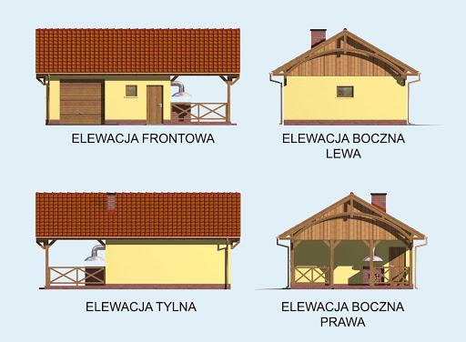 G56 szkielet drewiany garaż jednostanowiskowy z pomieszczeniem gospodarczym, wiatą - Elewacje