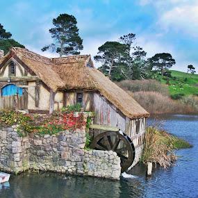 The Millhouse, Hobbiton NZ by Bryan Lowcay - Buildings & Architecture Architectural Detail ( millhouse, grass, green, water wheel, matamata nz, lake, new zealand, hobbiton,  )