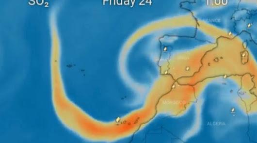 La nube de azufre del volcán podría entrar en la Península por Murcia