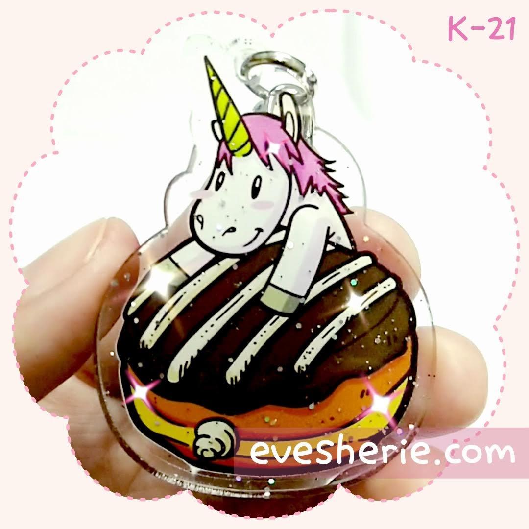 พวงกุญแจ ยูนิคอร์น เค้ก ช็อกโกแลต โดนัท สีชมพู น่ารัก cute pink unicorn cake chocolate donut keychain