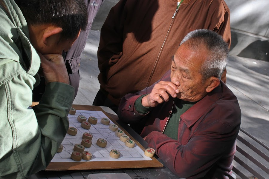 Decisions by Robin Coats - City,  Street & Park  Neighborhoods ( games, boston, chess, men, china town )