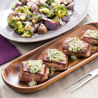 Pan-Seared Steaks & Salsa Verde with Roasted Broccoli & Purple Potatoes