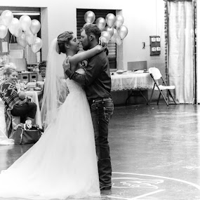 first dance by TJ Morrison - Wedding Reception ( black and white, wedding, bride, groom, dance )