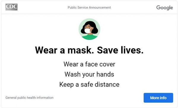Illustration of a woman wearing a mask above instructions for staying safe from coronavirus.