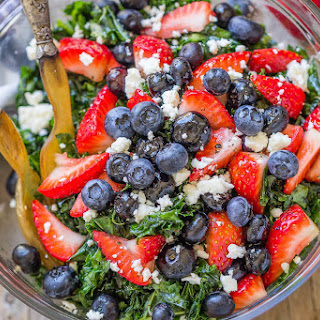 Summer Kale Salad with Blueberries, Strawberries and Feta Recipe