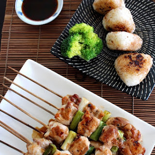 Yakitori with Yaki Onigiri (Grilled chicken with grilled rice ball).