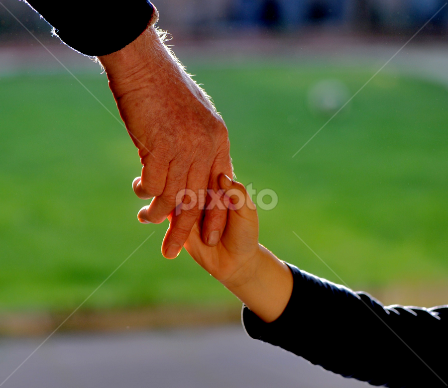 Handshake with love and care by Vineet Johri - People Body Parts ( love, child, pwchandshake, old, care, boy, handshake )