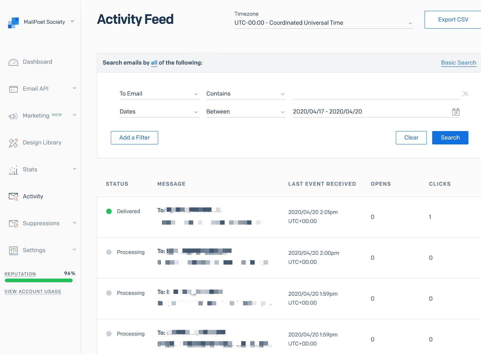 Screenshot of SendGrid's activity feed