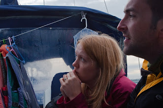 Photo: Susan and David listen intently to the tales about previous adventures