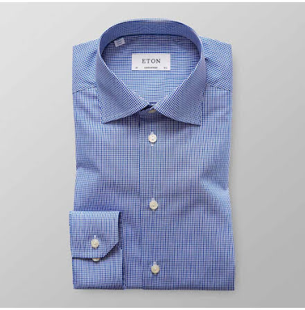 ETON Fine checked poplin blå contemporary fit