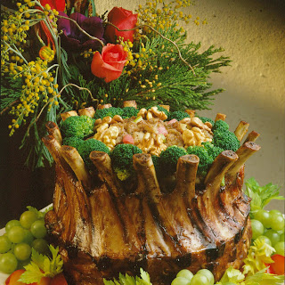 Crown Roast of Pork with Walnut-Rhubarb Stuffing.