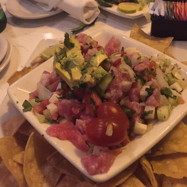 Ahi Tuna Ceviche with Fresh GF tortillas.