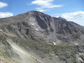 Photo: Chiefs Head Peak and Mount Meeker, the third and second highest peaks in Rocky Mountain National Park. Longs Peak, the highest, is hidden from view by Chiefs Head.