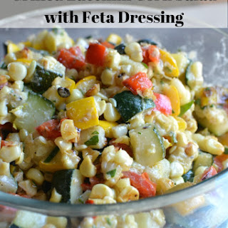 Grilled Zucchini Corn Salad with Feta Dressing