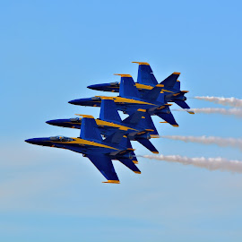 Blue Angels by Jarrod Unruh - Transportation Airplanes ( airshow, performance, navy, aircraft, airplane, flying, jet, aviation, military,  )