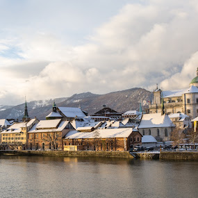 Soleure after first snow by Augustin Anic - City,  Street & Park  Vistas ( winter, old town, snowy, view, river )