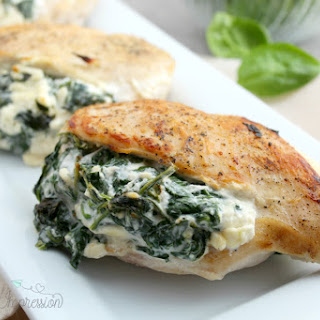 Keto Spinach Stuffed Chicken Breast with Cheese.