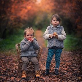 Autumn apples by Piotr Owczarzak - Babies & Children Children Candids ( girl, colors, forest, kids, young, boy )