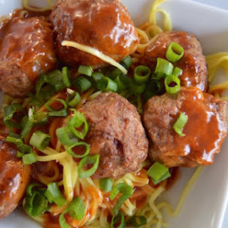 Turkey Sriracha Meatballs with Asian Noodles.