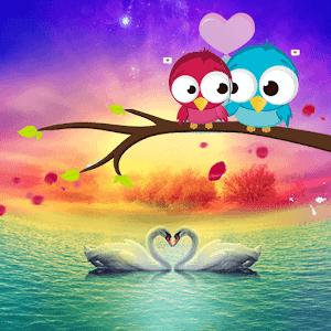 Love Swan Colorful Lake