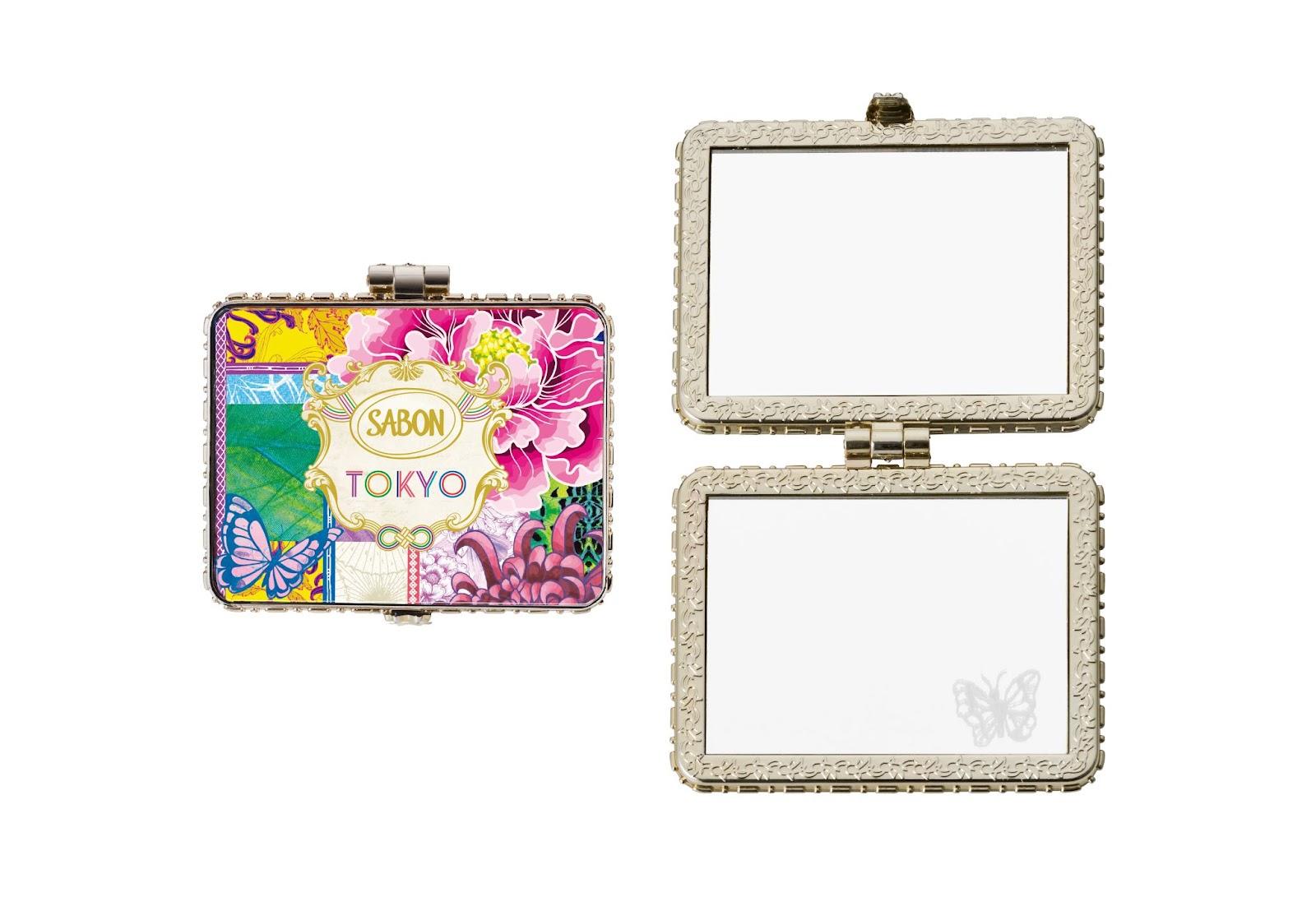 サボン Tokyo Colllection 蝶のモチーフの刻印入り「オリジナルコンパクトミラー」