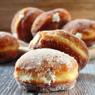 Vanilla Cream-Filled Doughnuts.
