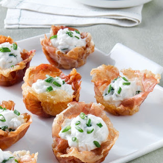 Crispy Prosciutto di Parma Cups with Goat Cheese Mousse.