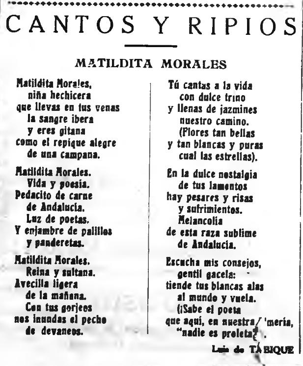 Poesía dedicada por Luis de Tabique.