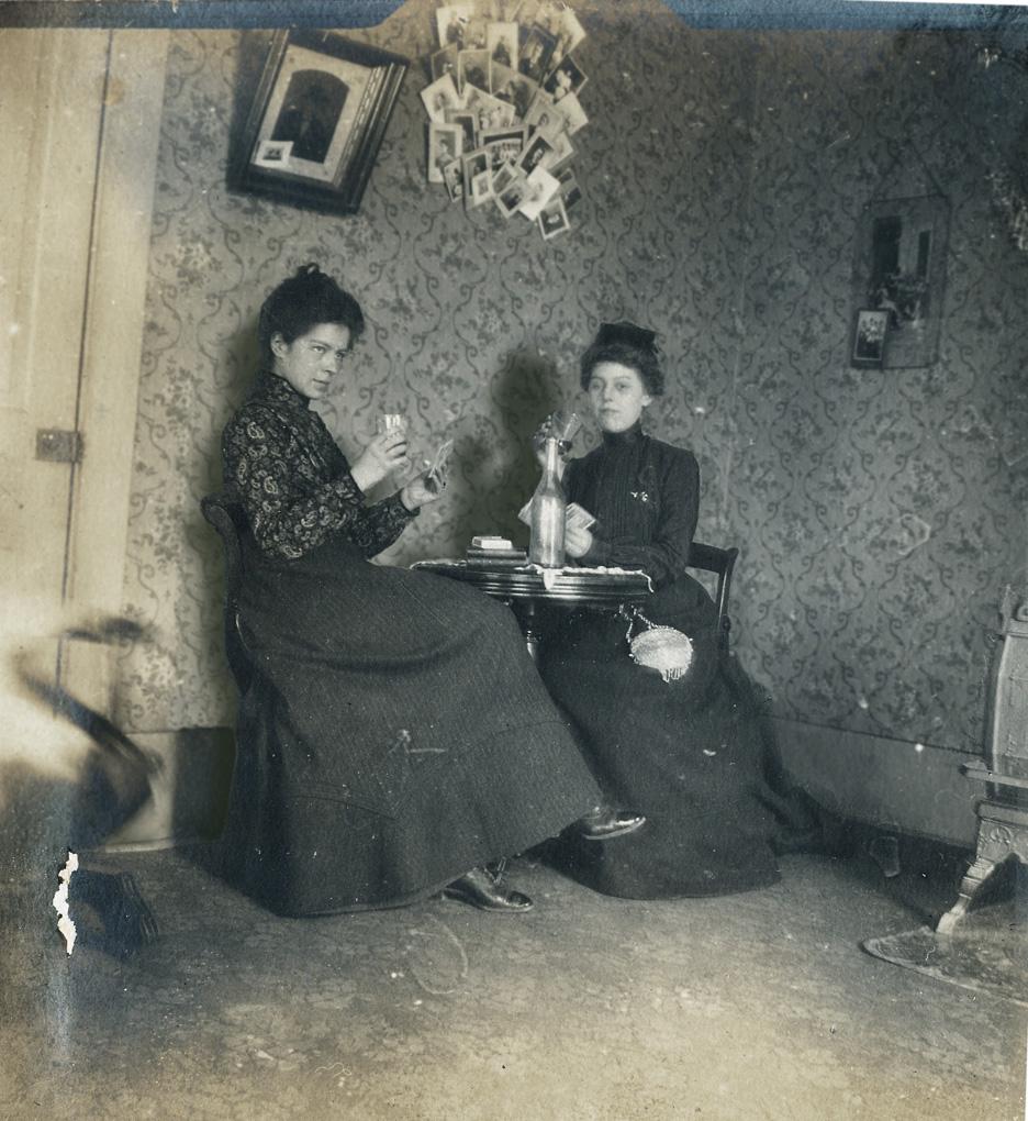 Photo: Jayne B. Kerr and Clara Schwanecke, January 1902.  Marshall, Illinois.
