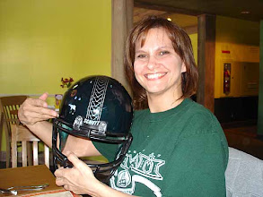 Photo: Ronnie with Garret's Warrior helmet prize from Stephen Tsai. King's Bakery & Restaurant - Torrance, CA 10/16/2007