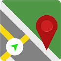 GPS road navigation and live map directions icon