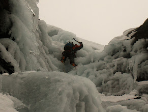 """Photo: Andy Owen approaching the top of """"Ice Crew"""", III, on Beinn Udlaidh"""