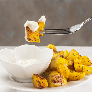 Roasted Golden Beets with Wasabi Cream Sauce.