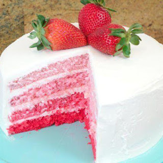 Strawberry Ombre Cake with White Chocolate Cream Cheese Buttercream Frosting.