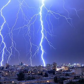 Big storm by Ion Alexandra - Landscapes Weather ( nigh shot, bucharest, lightning, sky, lightning bolt, bad weather, city storm, city, night, lights, , storm, stormy, weather )