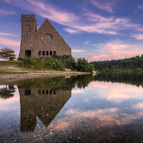 Stone by Matthew Robertson - Buildings & Architecture Public & Historical ( old stone church, reflection, sky, sunset, summer, pebbles, beach, lake shore )