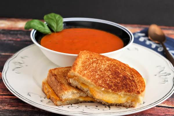 My Grilled Cheese And Tomato Soup Ready To Be Enjoyed.