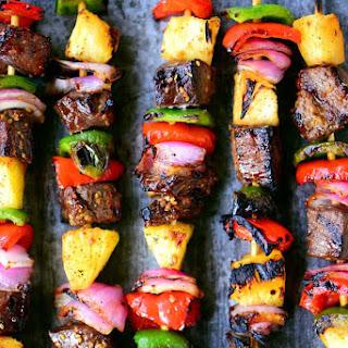 Hawaiian Steak Kabobs.