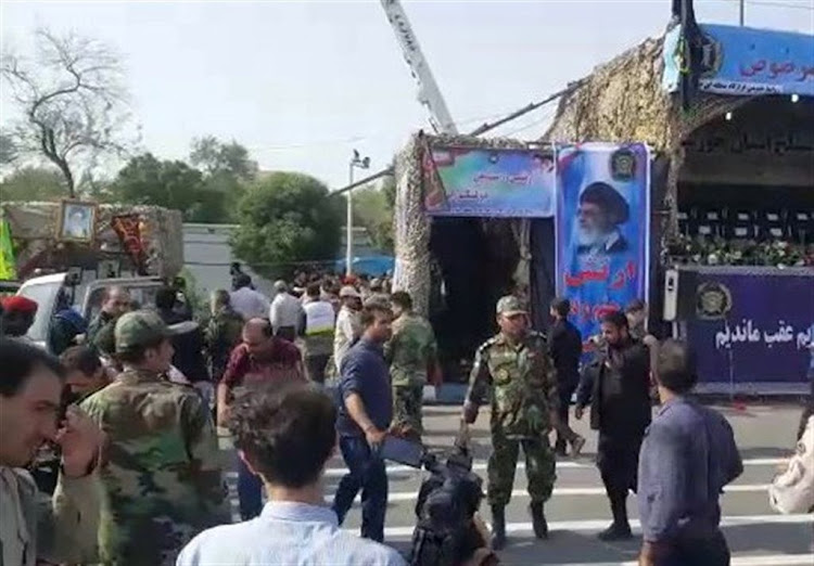 A general view of the attack during the military parade in Ahvaz, Iran, on September 22 2018.