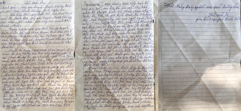 Lá thư với những lời chân chất, mộc mạc của người bố có con trai bị thất lạc, may mắn được lực lượng Công an huyện Thanh Chương phối hợp với Ban Công an xã Ngọc Sơn giúp đỡ an toàn trở về đoàn tụ với gia đình.