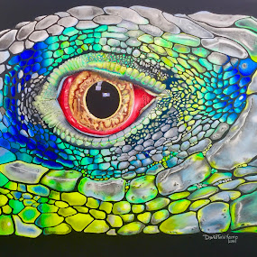 Blue Iguana by Dave Feldkamp - Drawing All Drawing ( colored pencil, ink drawing, art, iguana, iguana eye, iguana art, colored pencil drawing, colored pencil art, blue iguana, drawing,  )